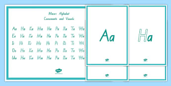 Alphabet Consonants and Vowels Display Poster Te Reo Māori. - Alphabet, Consonants and Vowels, Display Poster, Te Reo Māori, Ngā Pū Reta