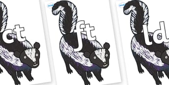 Final Letter Blends on Skunk to Support Teaching on The Bad Tempered Ladybird - Final Letters, final letter, letter blend, letter blends, consonant, consonants, digraph, trigraph, literacy, alphabet, letters, foundation stage literacy