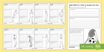 Areas to Develop in... Activity Sheets - PE, KS3, KS4, Assessment for learning, student worksheet