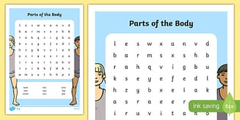 Parts of the Body Word Search - parts of the body, word search, parts, body, human, science