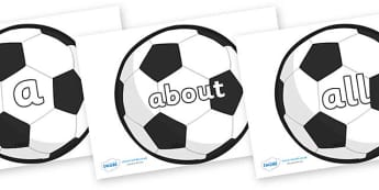 100 High Frequency Words on Football - High frequency words, hfw, DfES Letters and Sounds, Letters and Sounds, display words