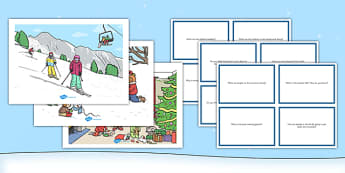 Winter Scenes and Question Cards Pack - winter scenes, question cards, pack