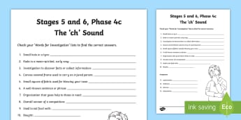 Northern Ireland Linguistic Phonics Stage 5 and 6, Phase 4c, 'ch' Sound Word Work Activity Sheet - NI, Irish, Sound Search, Word Sort, Investigation, Phoneme, Grapheme, Letter