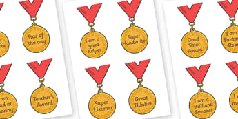 Classroom Award Medals - Award, reward, rewards, school reward, medal, good behaviour, award, good listener, good writing, good reading
