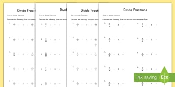 Divide Fractions Activity Sheet - divide, fractions, math, differentiated, activity sheets, higher ability, middle ability, worksheet