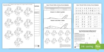 Year 6 Add and Subtract Fractions with Different Denominators Space Themed Maths Activity Games - sats survival, sats practice fractions, adding fractions, proper fractions, subtracting fractions, d