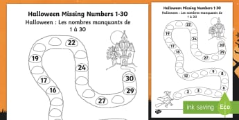 Halloween Spooky House Missing Numbers to 30 Worksheet / Activity Sheet English/French  - Halloween, october, festival, autumn, celebration, spooky, ghosts, witch, worksheet, worksheet / activity sheet,