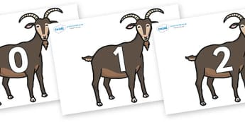 Numbers 0-100 on Big Billy Goats - 0-100, foundation stage numeracy, Number recognition, Number flashcards, counting, number frieze, Display numbers, number posters