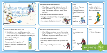 KS1 Winter Olympics What If...? Maths Challenge Cards - Questions, Problem Solving, Reasoning, Maths skills, Numeracy