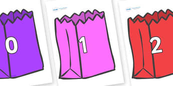 Numbers 0-100 on Bags - 0-100, foundation stage numeracy, Number recognition, Number flashcards, counting, number frieze, Display numbers, number posters