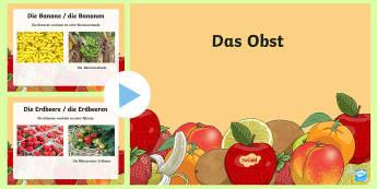 Fruit PowerPoint German - Obst, Essen, German, Deutsch, DAF, DAZ
