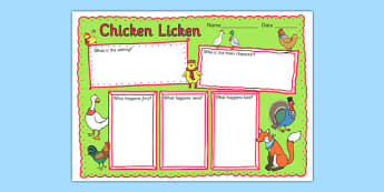 Chicken Licken Book Review Writing Frame - stories, story, write
