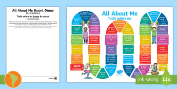 All About Me Board Game US English/Spanish (Latin) - activity, game, ourselves, eal, español, bilingue