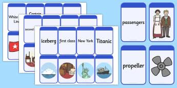 The Titanic Matching Flashcards - titanic, match, flashcards