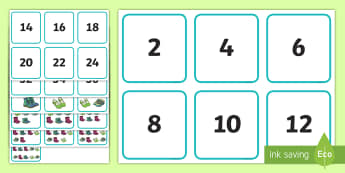Counting in 2s up to 40 Shoe-Themed Matching Cards - counting in 2, shoes, display posters, display, posters,