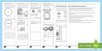 Year 2 Maths Measurement Assessment 2  - year 2, space and measurement, measurement, assessment,Australia, measure, assess, progress, test