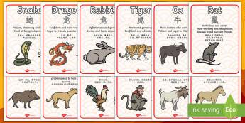 Chinese New Year Zodiac Animal Characteristics Display Posters - English/Mandarin Chinese - Chinese New Year Zodiac Animal Characteristics - Display Posters, Chinese new year animals, A4, disp