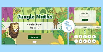Jungle Maths: Number Bonds up to 10 Game, Twinkl Go, twinkl go, TwinklGo, twinklgo