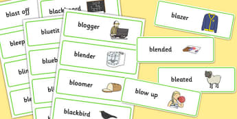 Two Syllable 'BL' Word Cards - bl sound, syllable, word cards, sound