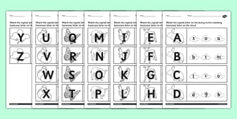 Spring Themed Capital Letter Matching Worksheet - spring, sheet