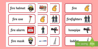 Fire Fighters Word Cards - people who help us, fireman, firewoman, fire, fire engine, everyday, hero, danger, role play, display, writing, independent, ks1,