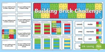 Building Brick Challenge Area Pack - challenges, games, activities