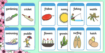 Spring Pictures and Words Flashcards - seasons, weather, spring