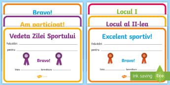Ziua Sportului Diplome - sport, ziua sportului școlar, ziua sportului, educație fizică, română, diplome, activități sp