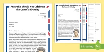 Australia Should Not Celebrate the Queen's Birthday Persuasive Differentiated Reading Comprehension Activity - The Queen's Birthday, Queen Elizabeth, comprehension, persuasive text,Australia