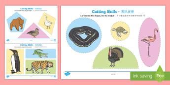 Cutting Skills Activity Sheets English/Mandarin Chinese - Scissor skills, cutting, cutting worksheet, using scissors, cutting skills, fine motor skills, motor