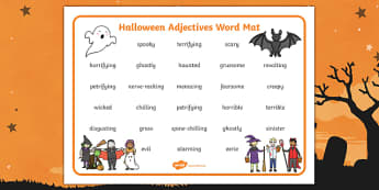 Halloween Adjectives Word Mat
