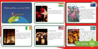 Weihnachten um die Welt Informationskarten - Weihnachtlich, Advent, Dezember, Traditionen, Bräuche, Infos,,German