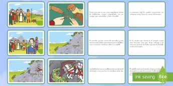 Tarjetas de secuenciar de cuento: San Jorge y el dragón - San Jorge, sant jordi, leyenda, leyendas, cuentos, cuentos tradicionales, Saint george spanish, jorg