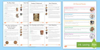 60 Second Reads: Maya Civilization Activity Pack - Mayan, reading, pack, activities, reading speed, read to self, daily five, history, ancient,