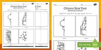 Chinese New Year Symmetry Worksheet / Activity Sheet - australia, activity, worksheet