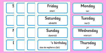Days of the Week, Months of the Year Labels Romanian Translation - romanian, days, week, months, year