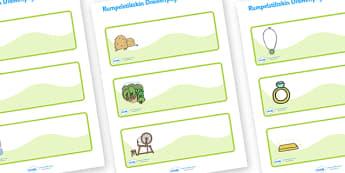 Rumpelstiltskin Editable Drawer Peg Name Labels - Rumpelstiltskin, miller, miller's daughter, spinning wheel, forest, straw, gold, Resource Labels, Name Labels, Editable Labels, Drawer Labels, Coat Peg Labels, Peg Label, KS1 Labels, Foundation Labels