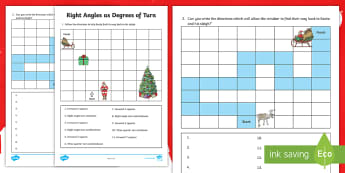 Christmas Right Angle Turns Activity Sheet - Maths, 90 degree turns, following instructions, positional language, quarter turns, worksheet