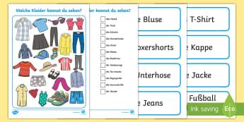 Clothes I Spy Activity Sheet - German - Clothes, German, I Spy, Game, MFL, Languages, Kleider, Spiel, Schau genau,German, worksheet