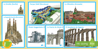 Monuments of Spain Display Posters Spanish - culture, geography, classroom, decoration, places,