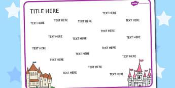 Castles Themed Editable Word Mat - literacy, words, writing, mats