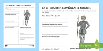World Book Day Spanish Literature Don Quixote Activity Sheet Spanish - KS3, Spanish, World, Book, Day, literature, worksheet, writers, project, activity,sheet, writing, fr