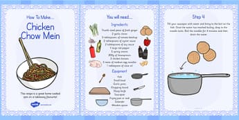 Chicken Chow Mein Recipe Cards - chicken, chow mein, recipe, card