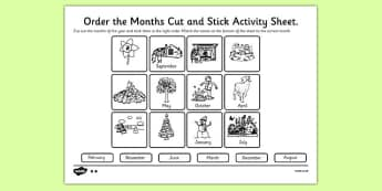 Months of the Year Cut and Stick Activity Sheet - months, year, cut, stick, worksheet