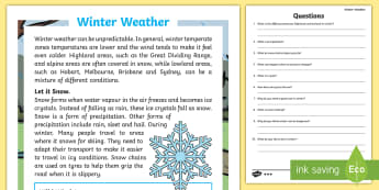 Winter Weather Temperate Zones of Australia Differentiated Reading Comprehension - temperate zone, brisbane sydney, melbourne, weather, cold, coldest, Australia