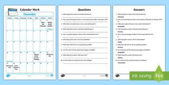 Problem Solving - Calendar Work December 2017 Activity Sheet - calander,calender, time, maths, problem, solving, irish events,Irish, worksheet