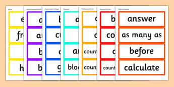 Year 1 2014 Curriculum Maths Vocabulary Cards Resource Pack