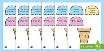 Ficha de actividad: Emparejar números descompuestos - Helados - descomposición de números, números, número, descomponer, descomposición, descompuesto, descomp