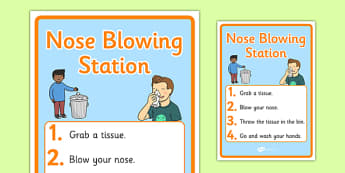 Nose-Blowing Station Display Poster - nose blowing station, display banner, display, banner, nose-blowing, station