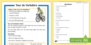 KS1 Tour de Yorkshire Differentiated Reading Comprehension Activity - Tour De Yorkshire, Yorkshire, Tour De France, Bicycle, Bike, Cycle, Cyclist, Competition, Rider, Rid